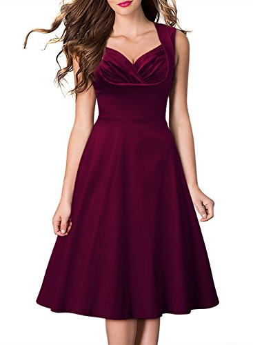 Miusol Ärmellos Sommerkleid 1950er Retro Cocktailkleid Petticoat Faltenrock Kleid Weinrot Groesse XXL