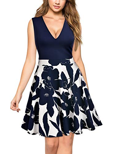 MIUSOL Kleid V-Vusschnitt Armellos Blume Patterned Mini Casual Kleid Navy Blau Gr.XL