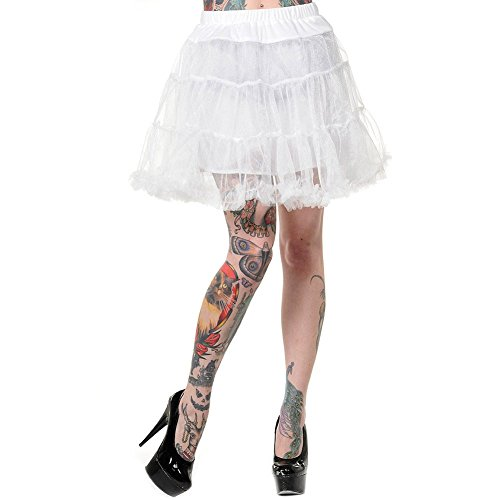 Banned Flare Petticoat (Weiß) - Large