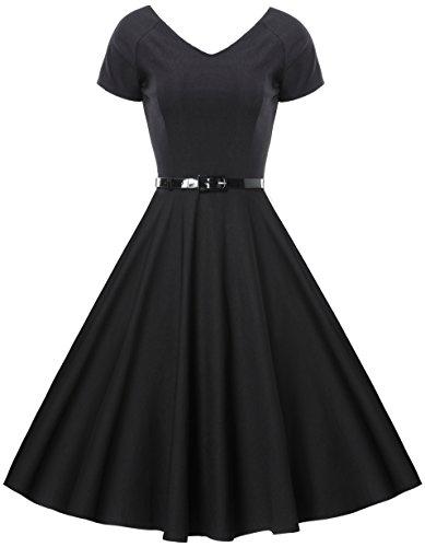 Gigileer Damen Vintage V-Ausschnitt Schwingen Rockabilly Ballkleid Kleider Cocktailkleid Schwarz XL