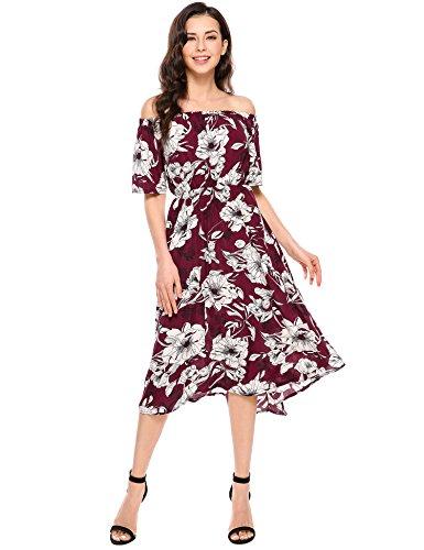 Meaneor Kleid Schulterfrei Retro Vintage Rockabilly Abendkleider