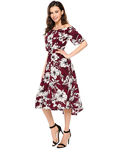 Meaneor Kleid Schulterfrei Retro Vintage Rockabilly Abendkleider - 2