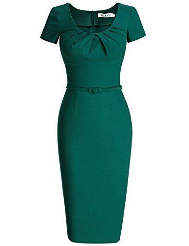 MUXXN 1950er Jahre Retro Kleid Rundhals Kurzarm Abend Bleistiftkleid