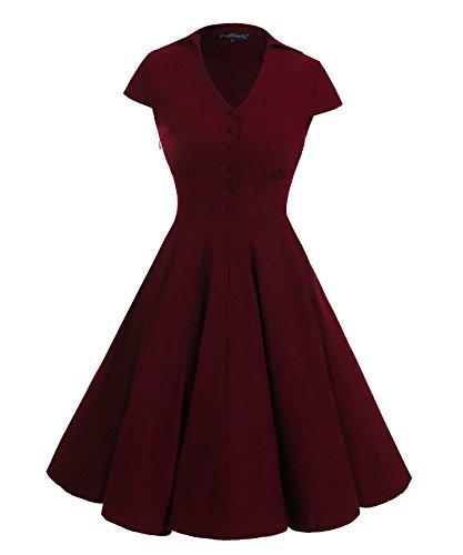 Gigileer 1950's Rockabilly Kleid Swingkleid Cocktailkleid Kurzarm Knielang