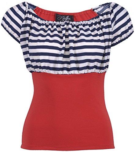 Küstenluder NEELY Sailor Striped 50s Streifen AHOY Retro BLUSE Shirt Rockabilly