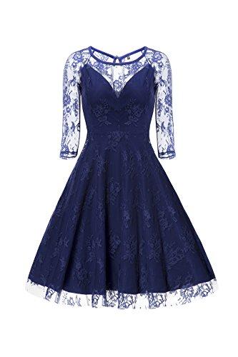 Gigileer Sexy Vintage Damen Floral Spitze 3/4 Arm Swing Kleid Knielang festlich Party Blau S