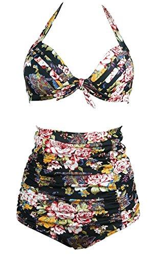 Gigileer 50's Rockabilly Damen Frauen Bademode Bikini Swimsuit High Waisted - Bauchweg - Plus Size Schwarz M