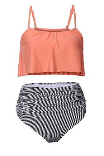 Gigileer Vintage Damen Volant Push Up High Waisted Bikini Set Badeanzug Bademode Orange XXXL