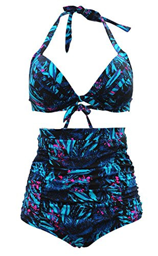 Gigileer 51's Damen Frauen Badeanzug Bademode Bikini Set -Hohe Taillen-bauchweg plus Size S