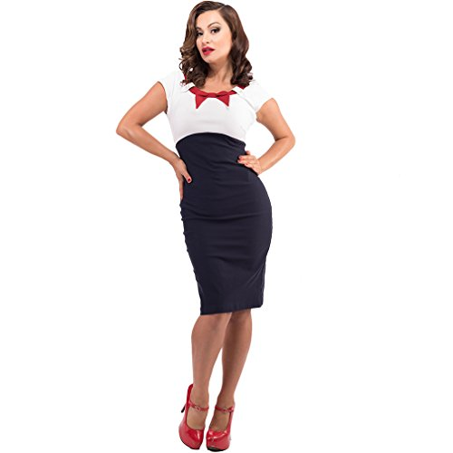 Steady Rockabilly Bleistiftkleid – Katy Pin Up Kleid Dunkelblau Kurzarm - 2