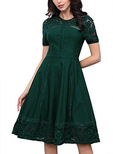 Miusol Abendkleid Spitzenkleid Rundhals Vintage 1950er Faltenrock Cocktailkleid Grün