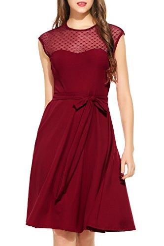 Zeagoo Elegant Damen Kleider Kurzarm Retro Vintage 50er Jahr Sewing Rockabilly Kleid Cocktailkleid Abendkleid Ballkleid Weinrot L