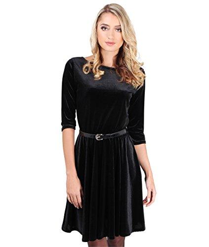 KRISP Damen Vintage Samt Cocktail-Kleid Schlicht & Elegant