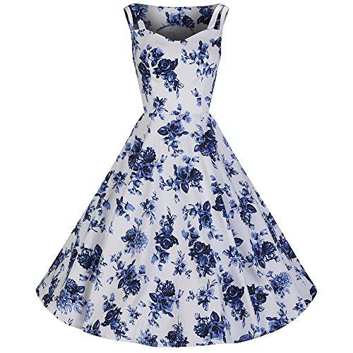 Pretty Kitty Fashion ärmellosen weißen blaue Blumenblüte Schaukel 50er Jahre Kleid