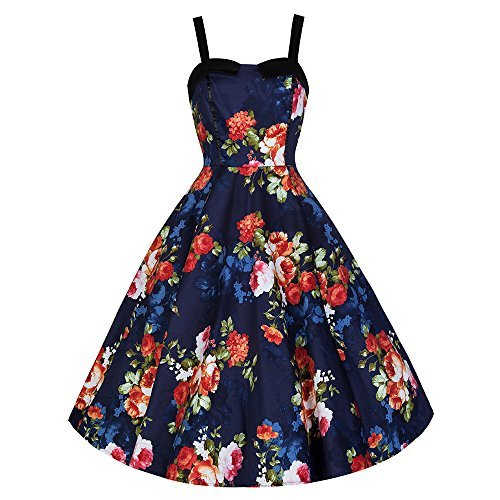 Pretty Kitty Fashion Marineblau Blumen-Swing-Kleid