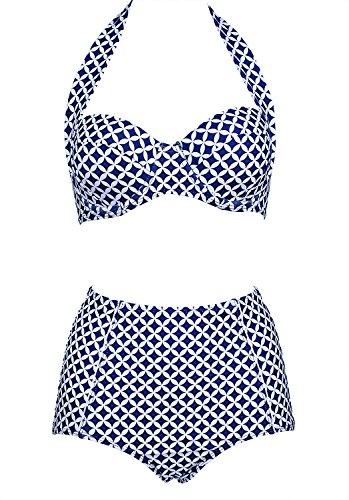 Damen Retro Badeanzug Bademode Bikini Set blau Label XXXL(EU 42-44)