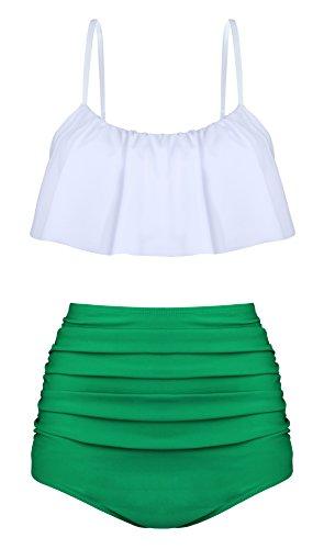 Angerella Damen Niedlich Ruffles Strap Badeanzug Crop Top Flounce Bikini (EU46-48=Tag Size 5XL, Weiß)