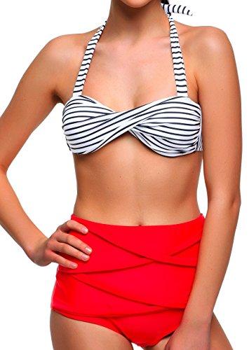 Angerella Damen Retro Stil Bademode Polka-Punkt mit hoher Taille Bikini Set Badeanzug (BKI033-R1-2XL)