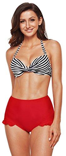 Angerella Frauen Retro Striped Top Halter Neck Back Straps Bikini Zwei St¨¹ck Badeanzug -