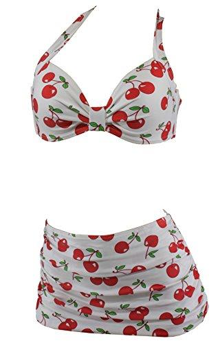 Aloha-Beachwear Damen Bikini A1044 Weiss/Kirschen Gr. 44