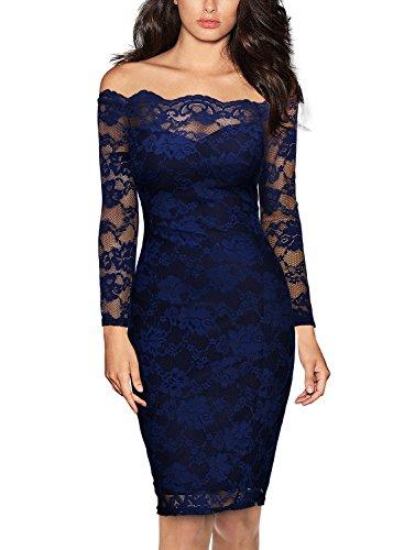 MIUSOL Damen Schulterfrei Spitze Cocktailkleid Etuikleid langarm Stretch Kleid Blau Gr.L