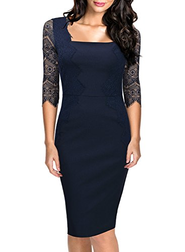 MIUSOL Damen 1/2 Arm Knielang Kleid Spitzen Cocktail Etuikleid Abendkleid Navy Blau Gr.XL