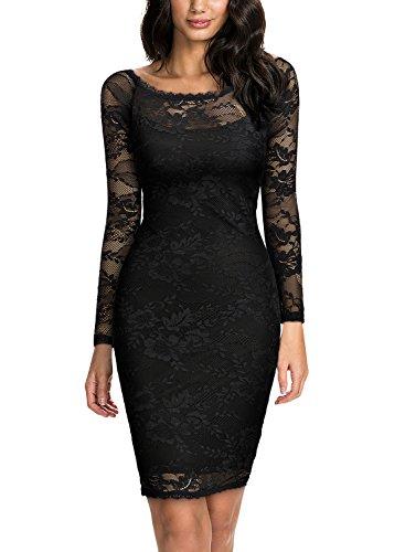 MIUSOL Damen Spitzenkleid Elegant Cocktail U-Ausschnitt Langarm Mini Party Abendkleid Schwarz M