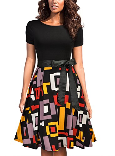 MIUSOL Damen Sommer Casual Kleid Runhals Unregelmassig Patterned Rocke Party Abendkleid Mit G¨¹rtel Schwarz XL