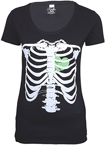 Küstenluder Punk ZOMBIE HEART Bones KNOCHEN Shirt Rockabilly