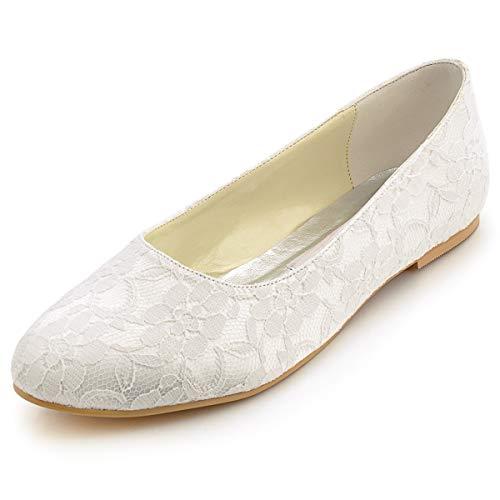 Flache Brautschuhe Ballerina Spitze Ivory oder Weiß