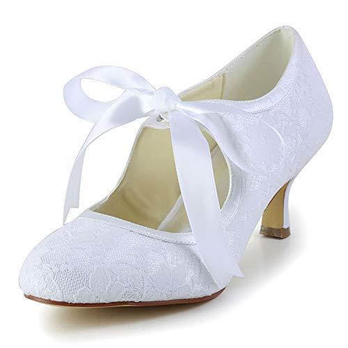 Jia Jia Wedding 14031 Hochzeitsschuhe Brautschuhe Damen Pumps weiß, EU 35