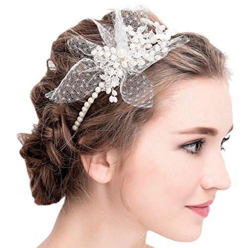 Vintage Elfenbein Tüll Bridal Tiara Strass Perlen Haarreif Hochzeit Prom Haarschmuck