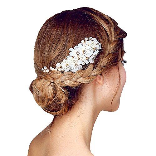 Tüll Blume Sicke Simulierte Perlen Braut Haarkämme Hochzeit Haarschmuck für Brauthochzeits Abschlussball Partei - Weiß