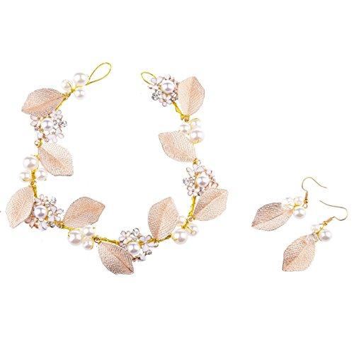 Oshide Haarschmuck Hochzeit Vintage Gold Perlen Haarband Mit Blatt Ohrring Schmuck Set