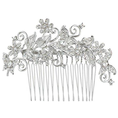 EVER FAITH® Kristall Vintage Inspiriert Schmetterling Blume Hochzeit Haarkamm Haarschmuck N03349-1