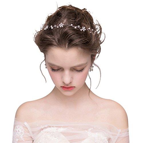 Dayiss Süß Braut Haarschmuck Blumen Diademe mit Kristall Perlen Hochzeit Vintage Silber und Gold (Silber)