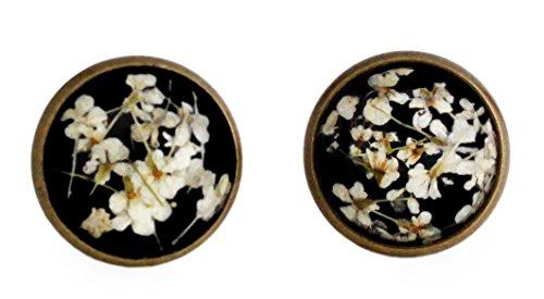 Miss Lovie Damen Echte Blüten Ohrstecker Ohrringe Cabochon 12mm Modeschmuck Schmuck Schwarz Weiß Bronze