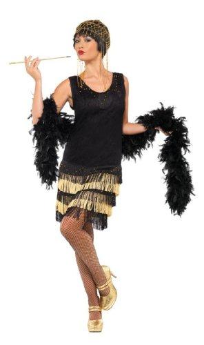 Smiffys, Damen 20er Fringed Flapper Kostüm, Kleid mit Spitzenfront und perlenbesticktem Saum, Größe: S, 33676