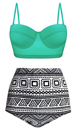 Angerella Damen Vintage Geometrischer Druck Unterseite Hohe Taille Badeanzug Bikini Set