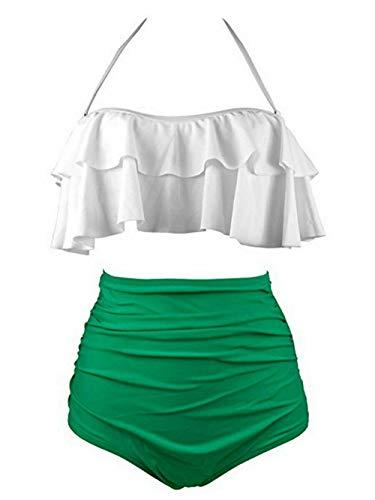 SSITG Damen Vintage Hohe Taille Bikini Retro Badeanzug Bikini Bademode Badebekleidung