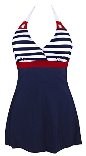Gigileer Damen Frauen Badeanzug Bademode one Piece Marine Streifen Rock Shorts Rot XL EU 38-40