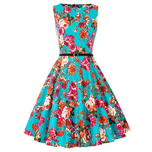 Damen rockabilly kleid 50er jahre kleid festliche kleider vintage knielang partykleider Größe M CL6086-4