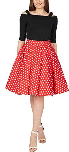 BlackButterfly Polka-Dots 1950er-Jahre Swing Tellerrock (Rot, EUR 42 - L)