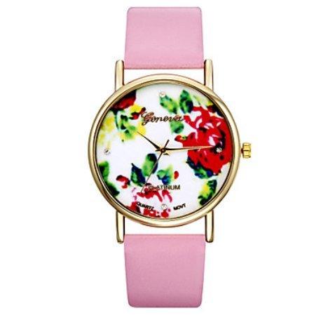 Vintage Blumen-Uhren für Frauen, Frauen Uhren, Frauen Uhren retro, vintage Damenuhren, Geschenke für sie, Geburtstagsgeschenk ( Farbe : Rosa , Großauswahl : Für Damen-Einheitsgröße )