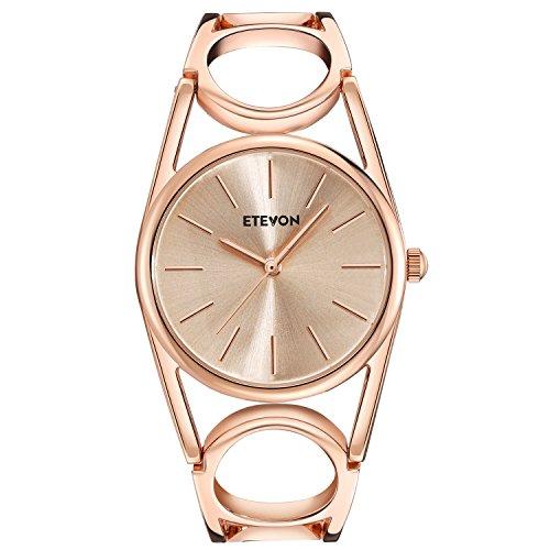 ETEVON Frauen Quarz Rose Gold Armbanduhr mit Runden Hohlen Armband Rostfreier Stahl Wasserdicht, Mode Luxus Verkleiden Armbanduhren für Damen