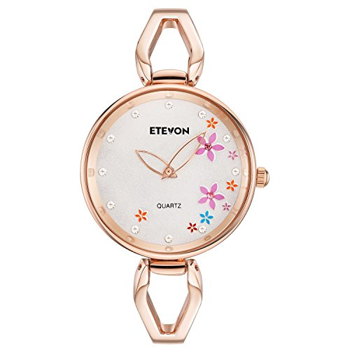 ETEVON Women's Quartz Rose Gold Armband Uhr mit Strass Blumen Zifferblatt und Edelstahl Case, stilvolle Casual Dress Handgelenk Uhren für Damen