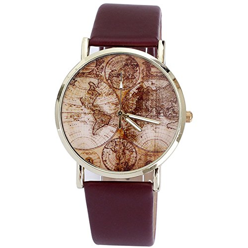 Better Dealz VINTAGE Weltkarte Uhr Lederausstattung Leichtmetall Damen Analoge Quarz Armbanduhr,retro kaffee