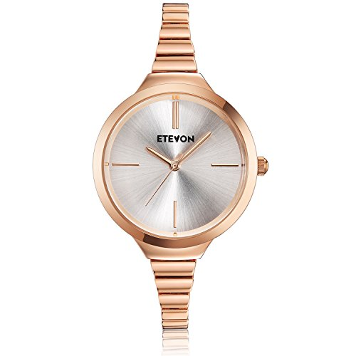ETEVON Women's Quartz Rose Gold Armband Uhr mit High-End Edelstahl Case, elegante Luxus-Gold-Tone Kleid Handgelenk Uhren für Damen