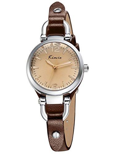 Alienwork Mini Damen/Mächen-Uhr Silber Braun-Glas Leder-Armband Braun YH.KW545S-03