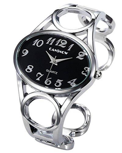 JSDDE Uhren,Damen Armbanduhr Chic Manschette Damenuhr Oval Spangenuhr Frau Analog Quarz Uhr Armbanduhr,Schwarz-Silber